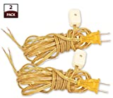 Royal Designs Lamp Cord with Rotary Switch and Molded Plug, Clear Gold, 9 feet, SPT-2, Set of 2 (CO-2001-GL-9-2)