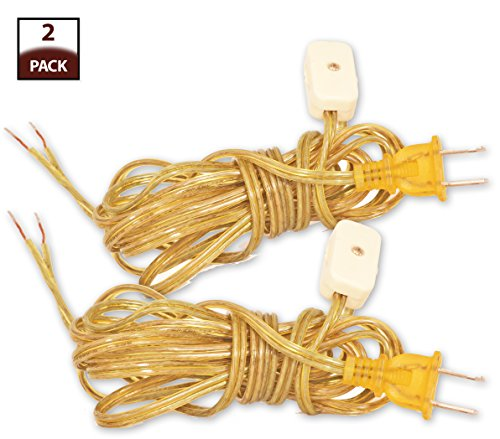 Royal Designs Lamp Cord with Rotary Switch and Molded Plug, Clear Gold, 9 feet, SPT-2, Set of 2 (CO-2001-GL-9-2) -