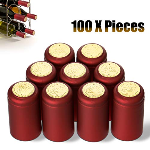 Janolia Heat Shrink Capsules, 100Pcs Wine Shrink Caps Bottle Seals, Easily Seal and Tear Off with Tearing Tab, Great Gift for Father, Red