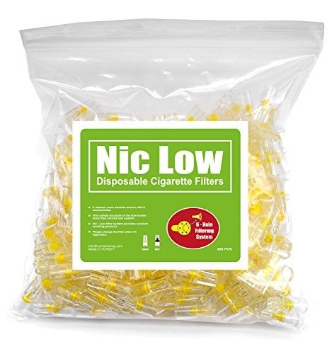 Nic Low Disposable Cigarette Tar Filters for Smokers - 6 Hole Filtration - Bulk Economy Filter Pack - 300 Filters