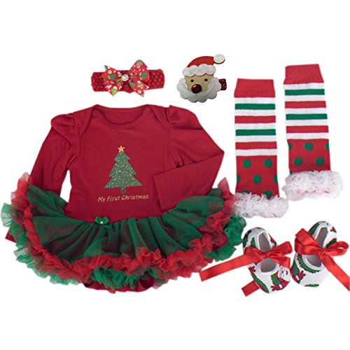 [TANZKY Baby Girls' 5PCs Long Sleeve My First Christmas Headband Legging Shoes US Size 9M~12M] (Christmas Outfits Baby)