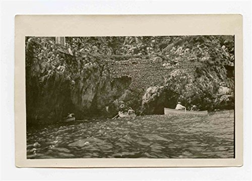 Row Boats in Blue Grotto Island of Capri Italy Black and White Photo