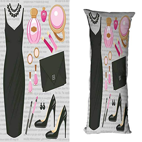Polyester Pillowcase Heels and Dresses Black Smart Cocktail Dress Perfume Make Up Clutch Bag Cushion W23.5 xL67 Black Light Pink Light Brown