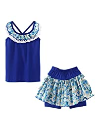 LittleSpring Little Girls' Shorts Set Flower Summer