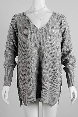 Zonsaoja Libero Grey V Con Jumper Per Scollo Lo Le Maglioni A Donne Solido A Pullover 66Ogr