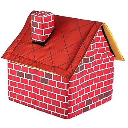 Casa de Ladrillos portátil para Mascotas con Chimenea, cálido y Acogedor Perro, Cama para Gato, Tienda de campaña, Rojo: Amazon.es: Hogar