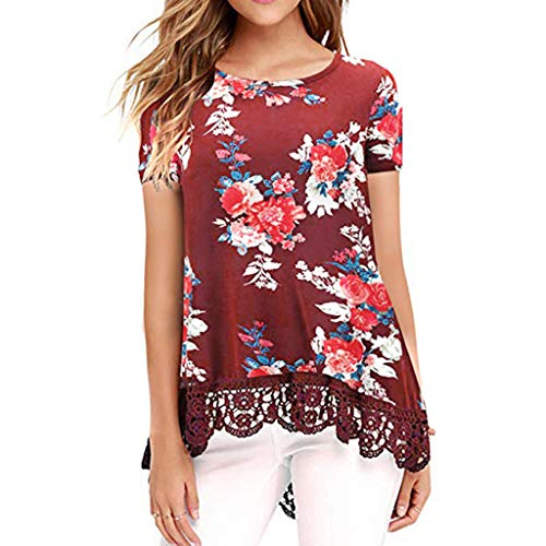 Snowlily Blouse for Women,Summer Fashion Shirt Casual Hem Lace Stitching Short Sleeve Shirt Elastic Short-Sleeved T-Shirt Wine ()