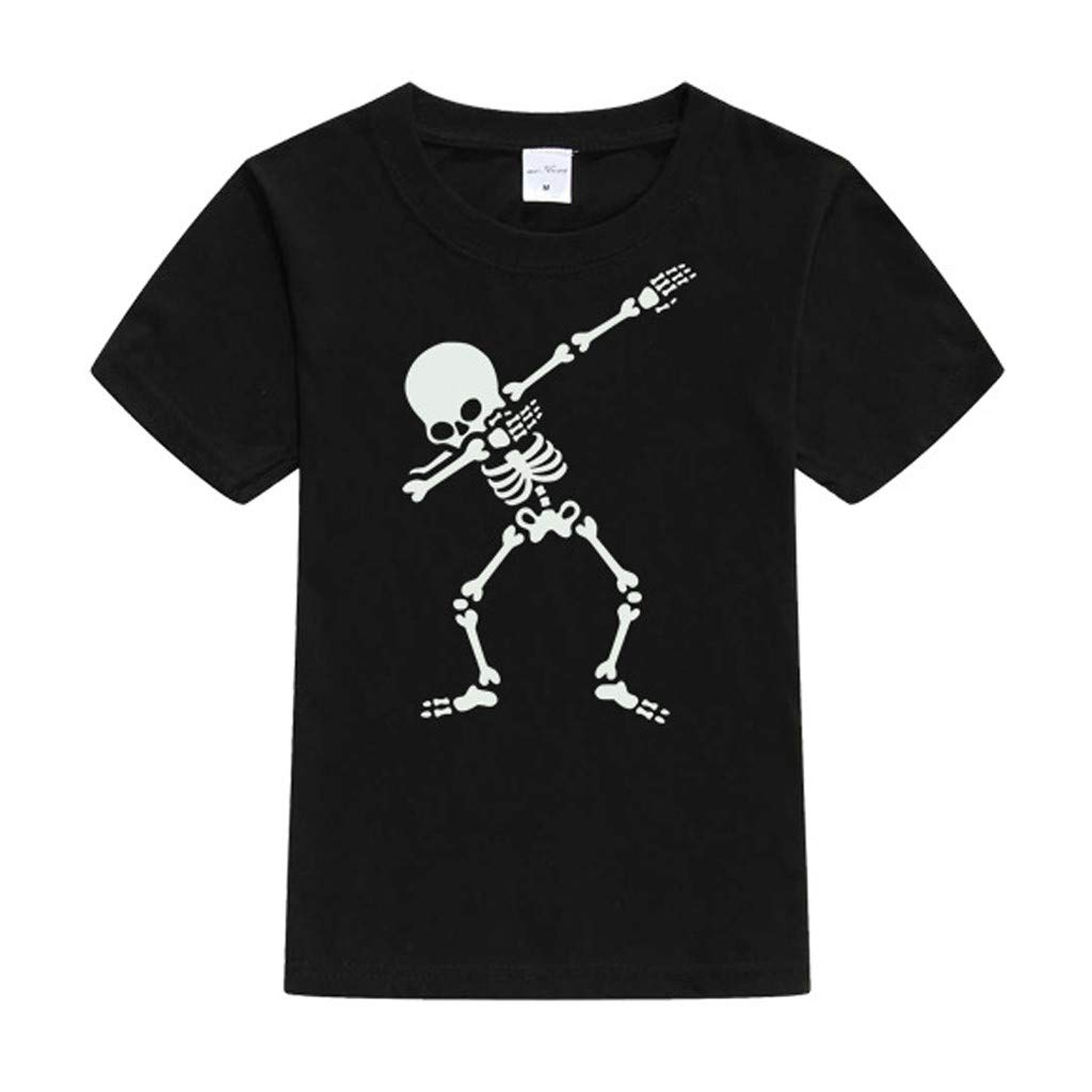 Ariestorm Child Kids Baby Girls Boys Cartoon Luminous Noctilucence Skull T Shirt Tops Outfits
