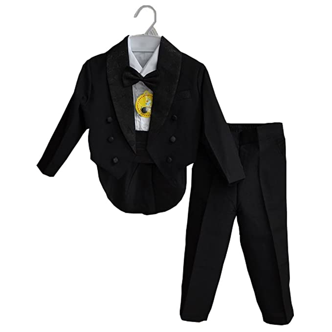 GSCH 5pcs Niños bebés Caballero boda Trajes Chaqueta + Pantalon + Camisas + Pajarita Ajustable + Pretina (12 mes-4 años)