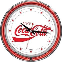 Coca-Cola Enjoy Coke Chrome Double Ring Neon Clock, 14