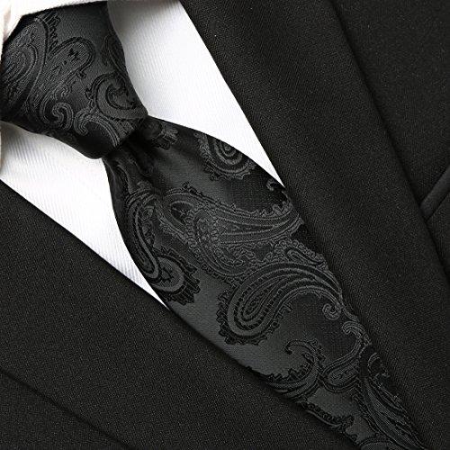 KissTies Extra Long Tie Set: Black Paisley Necktie + Hanky + Gift Box (63'' XL) by KissTies (Image #3)