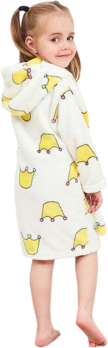 YIKIBODA Girls Cute Soft Fleece Bathrobe Robe with Hood 2-11 Years