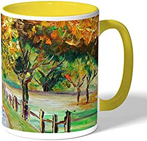 Drawing Nature Coffee Mug by Decalac, Yellow - 19003
