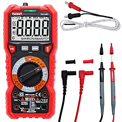 Twidec/Multi-Function Advanced Digital Multimeter DC AC 6000 Counts Tester Measuring Temperature, Inductance and Capacitance Non Contact Multi Meter Tester Backlight NCV detection function TA118C