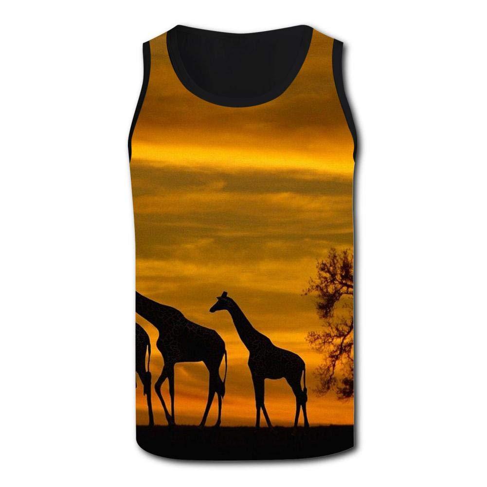 Gjghsj2 Sunset Giraffe Family Mens Tank Top Vest Shirts Singlet Tanks Sleeveless Underwaist for Running
