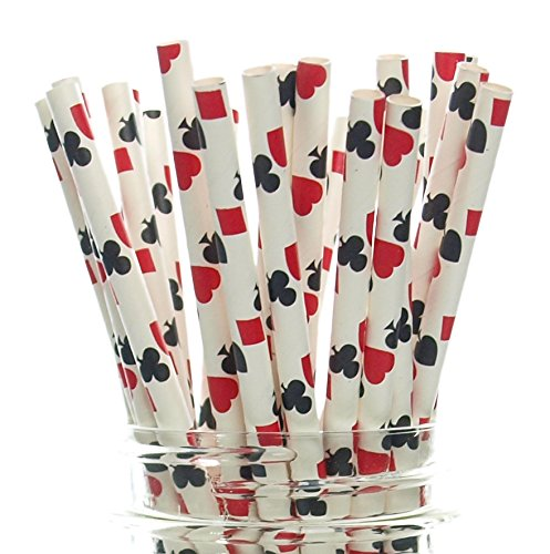 Magic Party Straws, Playing Cards Design (25 Pack) - Magician Birthday Party Supplies, Magic Trick Cake Pop Sticks, Abracadabra Magic Theme Party Favors (Las Vegas Themed Party)
