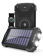 $28 » Solar Power Bank, Qi Certified Wireless Charger Portable External Battery Pack Type C Input Port Dual Flashlight, Compass, Splashproof, Dustproof, Shockproof and Solar Panel Charging