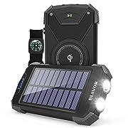 Solar Charger Power Bank, Qi Wireless Charger 10,000mAh External Battery Pack Type C Input Port Dual Flashlight, Compass…