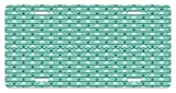 zigzag steering wheel cover - Mint License Plate by Lunarable, Steering Wheels Anchors Chevron Zigzag Nautical Seaside Theme Aquatic, High Gloss Aluminum Novelty Plate, 5.88 L X 11.88 W Inches, Mint Green Navy Blue White