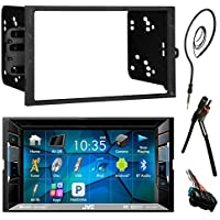JVC  6.2 Touch Screen Bluetooth CD DVD Car Stereo Receiver Bundle Combo with Metra Dash Installation Trim Kit, Wiring Harness For GM Vehicles, Enrock 22 AM/FM Radio Antenna with Adapter