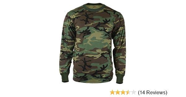 ... ArmyUniverse  Amazon.com Mens Woodland Camouflage Long Sleeve Military Camo  Tee T-Shirt - Large ... bb6473e211f2