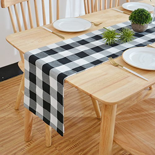 NATUS WEAVER Black & White 2 Side Buffalo Check Table Runner for Family Dinners or Gatherings, Indoor or Outdoor Parties, Everyday Use (12