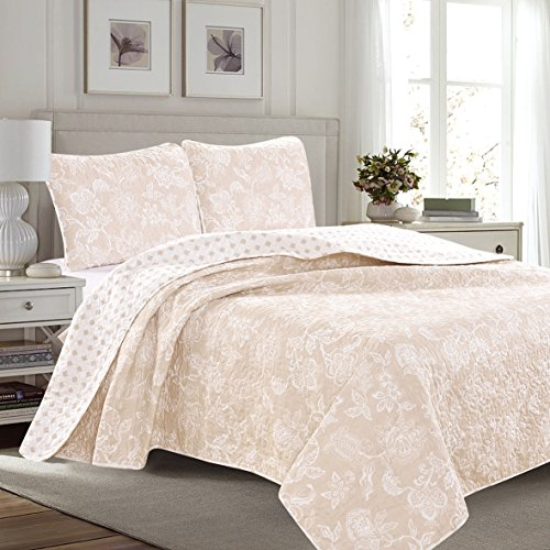 Great Bay Home 3-Piece Reversible Quilt Set with Shams. All-Season Bedspread with Floral Print Pattern in Contemporary Colors. Emma Collection By Brand. (Twin, Taupe)