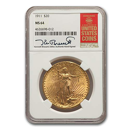 - 1911 $20 St. Gaudens Gold Double Eagle MS-64 NGC G$20 MS-64 NGC