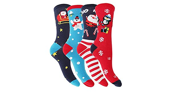 FLOSO Womens/Ladies Christmas Character Design Novelty Socks (4 Pairs) (6-9 US) (Navy/Red/Blue) at Amazon Womens Clothing store: