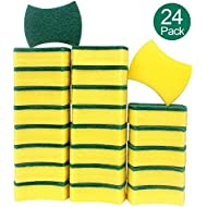 esafio 24 Pack Non-Scratch Scrub Sponge, Super Absorbent Multi-Use Cleaning Sponges for Kitchen, Dishes, Bathroom, Car Wash
