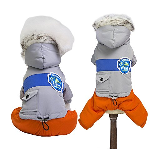MUYAOPET Snowsuit for Dog Winter Dog Cotton-Padded Jacket Coat Waterproof Warm Dog Pet Cat Hooded Jumpsuit Clothes for Small Dog (L, Grey)