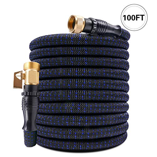 KAREEME 100ft Expandable Garden Hose Flexible Garden Hose Lightweight Extra Strength Fabric and 3-Layer Latex Core, 3/4″ Solid Brass Fittings, No-Kink, Best Choice for Watering and Washing