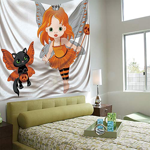 AngelSept Popular Flexible Hot Tapestries Privacy Decoration,Halloween,Halloween Baby Fairy and Her Cat in Costumes Butterflies Girls Kids Room Decor Decorative,Multicolor