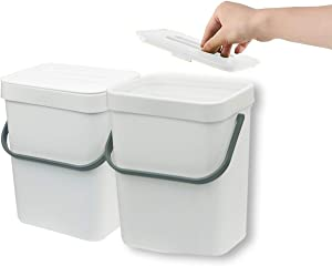 Gereen 1.3 Gallon Compost Bin, 2 Pack Compost Bucket Small Trash Can Wastebasket with Lid for Kitchen Countertop Under Sink (White)
