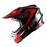 1Storm Adult Motocross Helmet BMX MX ATV Dirt Bike Helmet Racing Style HF801; Sonic Red