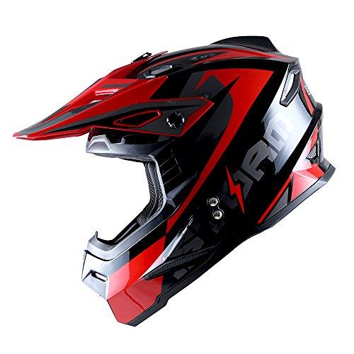 1Storm Adult Motocross Helmet BMX MX ATV Dirt Bike Helmet Racing Style HF801; Sonic Red