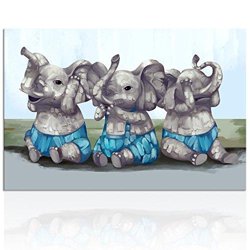 Visual Art Decor Funny Animals Painting Wall Art Elephants N
