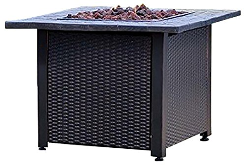 "Plow & Hearth 13911 Wicker Propane Gas Fire Pit, 30"" Square x 24"""" - Propane gas fire pit with wicker frame; propane not included 30, 000 BTU output Lava rocks included - patio, outdoor-decor, fire-pits-outdoor-fireplaces - 515 gOmlsVL -"