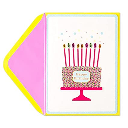 Amazon PAPYRUS Happy Birthday Gemmed Candle Cake Card