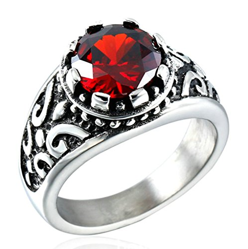 Beydodo Stainless Steel Men Rings Vintage Mysterious King Bands, Round Scarlet Crystal, Size 11