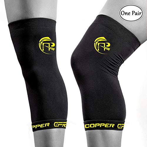 CFR Copper Knee Sleeves One Pair Knee Support Compression Braces High Copper Content Infused Fit for Men and Women Black,L - One Pair UPS Post