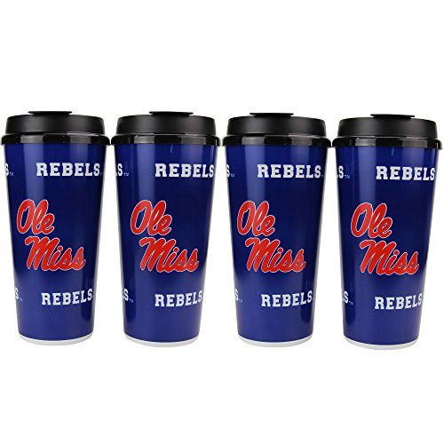 NCAA 32oz Large Tailgate Cups w/Lids 4-Pack (Ole Miss Rebels)