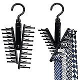 THEE Black Tie Belt Rack Organizer Hanger Non-Slip Clips Holder 2pcs