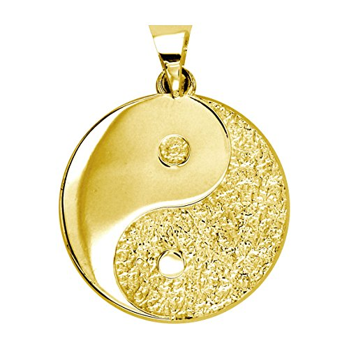 Large Yin Yang Medallion Charm Pendant, Two sided,Reversible, 1 inch in 14K Yellow Gold
