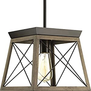 Briarwood Collection Rich Oak One-Light Farmhouse Mini-Pendant