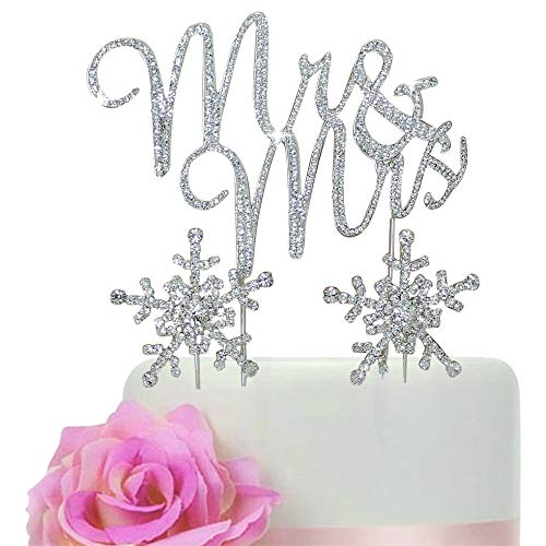 Lulu Sparkles LLC Crystal Rhinestone Winter Wedding Monogram Mr & Mrs & Snow Flakes Cake Topper Wedding Cake Jewelry Bling Keepsake Set (Silver_Snow Flake Set)