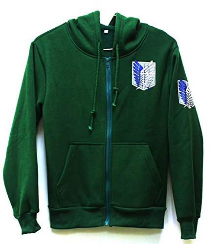 (Attack on Titan Cool Jacket Sweater Zip Hoodie Cosplay Costume for Men Women (M,)