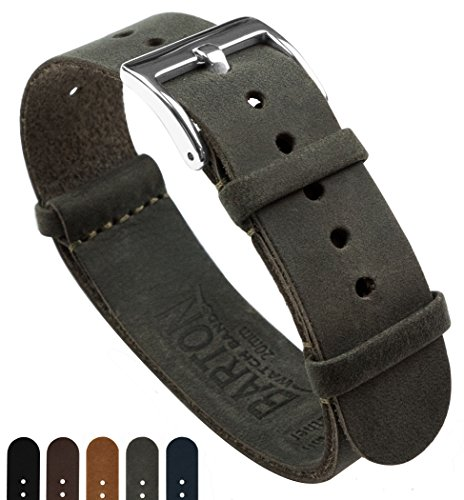 BARTON Leather NATO Style Watch Straps - Choose Color, Length & Width - Espresso Brown 20mm Standard Band