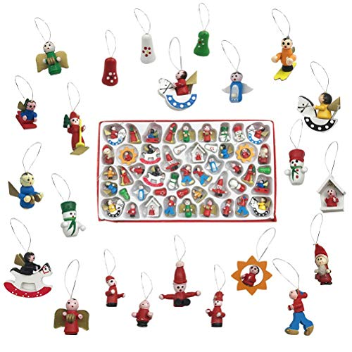 EachMay Mini Christmas Tree Ornaments, Set of 48 Wooden Hanging Vintage Miniature Decorations Santa Claus Snowman Angels