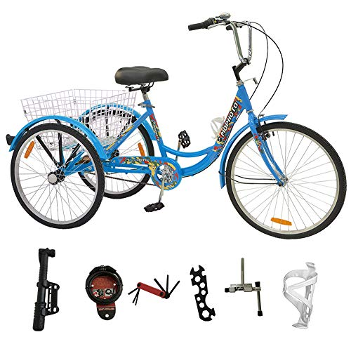 MOPHOTO Adult Tricycle Trike Cruiser Bike 3 Wheeled Men's Women's Cruiser Bicycles w/Large Basket and Maintenance Tools (Single Speed Blue Camouflage, 24 Inch)